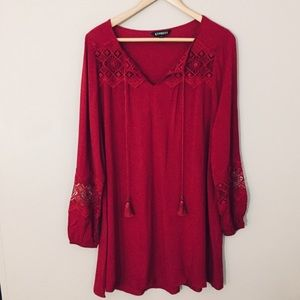 NWT Express Embroidered Tassel Mini Dress Red S
